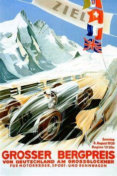 1939 Car Race Grand Prix Grosser Bergpreis Germany Vintage Poster Repro FREE S/H #Vintage