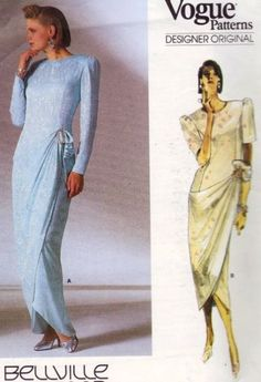 Vintage Vogue 1884 Designer Bellville Sassoon Dress Gown Pattern 16 ~ 38 Uncut