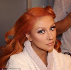 Proud red-head: Christina Aguilera, 35, shared a stunning selfie with her copper-hued locks on Thursday