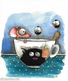 Original Watercolor Painting Whimsical Art Illustration Mouse Crow Cup Cat Tea | eBay