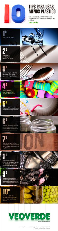#Infografia 10 Tips para usar menos plásticos | VeoVerde Save Our Earth, Save The Planet, Ap Spanish, Eco Green, World Languages, Green Life, Science And Nature, Sustainability, Planets