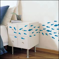 Blue Fish Removable Decor Wall Sticker Decals