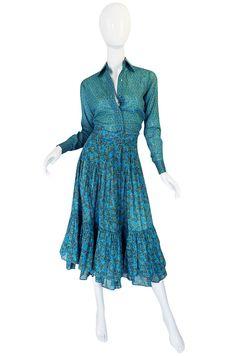 1970s Yves Saint Laurent Ruffled Tiered Skirt & Top Set