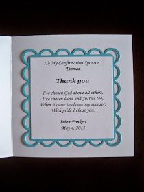 thank you card for sponsors A wonderful way to say thank you to the Confirmation Sponsor ...