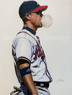 Chipper Jones, Graphite Art, Baseball Art, Atlanta Braves, Limited Edition Prints, Pencil Drawings, Art Sketches, Colored Pencils, How To Draw Hands