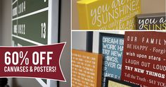HUGE savings available this week on my wrapped canvases and poster prints--Get 60% OFF!   Designs include: Customize Your Own Family Rules - You Are My Sunshine - Special Family Dates Artwork - Personalized Baseball Scoreboard & More! SHOP HERE: http://signsbyandrea.com/designs