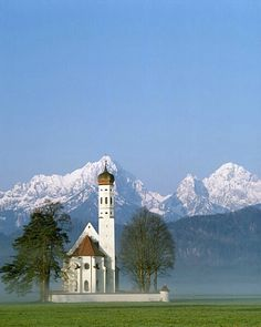 Church and the Alps, Bavaria, Germany