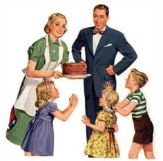 1950s then and now 2014's We Good Wives know that daddy gets the first slice, then the children, then finally the Mrs. can have a small piece. We must maintain our figure!