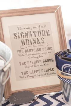 Signature Drinks Sign Nautical Wedding Jami Thompson Photography Drink Signs