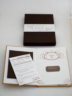 Letterpress printed wedding invitation book