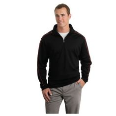 Custom Branded Embroidered NikeGolf 1/2 Zip Cover-Up has a Dri-Fit moisture management system, stylish accent stitching on shoulder, sleeves and collar, and open cuffs and bottom hem