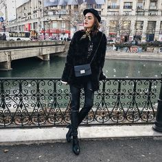 Andreea Birsan - Faux Fur Coat, Graphic Tee, Bell Sleeve Top, Skinny Scarf, Military Cap, Black Crossbody Bag, Pu Leather Pants, Pointed Toe Ankle Boots - All black // couturezilla.com