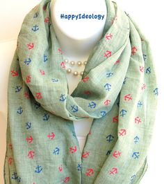 Nautical Anchor Infinity Scarf.Mint GreenRed & by HappyIdeology