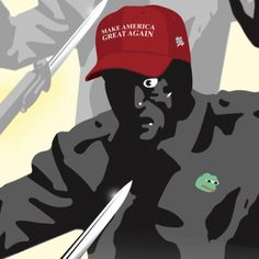 """An Antifa website dedicated to the anti-Trump """"resistance"""" is peddling violent imagery against conservatives. According to Hannity.com, the site It's Going Down, """"a go-to resource for anti-Trump activists and anarchists in the aftermath of the 2016 US general election,"""" published a propaganda poster of a man in a MAGA hat, with a Nazi soldier as a shadow, submitting to a bayonet:"""