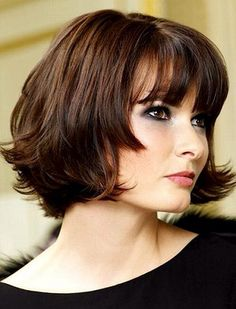Short bob hairstyles with bangs for round faces and thick wavy hair