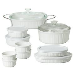 ON THE GO! Ceramic, Stain Resistant, Odor Resistant, Dishwasher-safe, Microwave Safe, 1 year warranty. We are moving into an apartment with white everything in the kitchen so the best way to compliment that is with crisp white cookery or a touch of bright spring and romantic floral/herbal