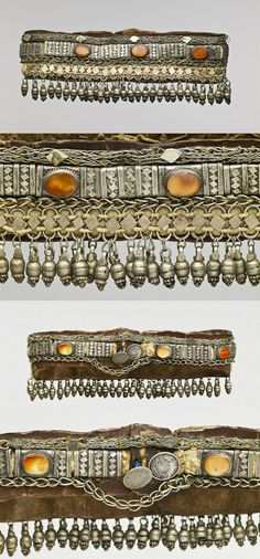 Yemen | Woman's headdress; silver, carnelian cabochons, leather.  ca. early 20th century | © Musée du quai Branly