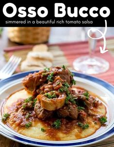 Osso Bucco that will rock your world. This dish is incredible. Tender pieces of Osso Bucco simmered in a beautiful rich tomato salsa with a hint of red wine, and served over creamy soft polenta! #osso #bucco #simmered #tomato #salsa #redwine #soft #polenta #dinner Greek Recipes, Meat Recipes, Italian Recipes, Dinner Dishes, Main Dishes, Cafe Delites, Easy Food To Make, Polenta, Main Meals