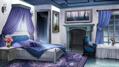 The Guest Bedroom - visual novel BG by on DeviantArt Episode Interactive Backgrounds, Episode Backgrounds, Anime Backgrounds Wallpapers, Anime Scenery Wallpaper, Scenery Background, Living Room Background, Animation Background, Kitchen Background, Castle Bedroom