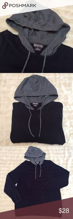 MICHAEL KORS Men's Navy Blue Pullover hoodie! Men's Pullover hoodie by MICHAEL KORS! • Size: XXL • Navy Blue body with Grey Hood! • Features front, double sided open pocket & drawstrings! • Gently worn a few times but still in GOOD condition! • Lightweight & perfect for a quick outing or casual night out! MICHAEL Michael Kors Sweaters Crewneck