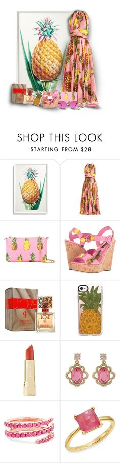 """Pineapple Print"" by sarahguo ❤ liked on Polyvore featuring Frontgate, Dolce&Gabbana, Jennifer Lopez, Casetify, Carolee, Anita Ko, Ippolita and RetroSuperFuture"