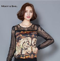Plus Size Fashion Autumn /Spring Sexy Lace Chiffon Women Blouse Patched Mesh Printed Famle Bottoming Shirt Tops T68224H