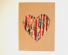 Pink Stripey Socks: DIY Magazine Strip Silhouette Heart Art - this idea would translate adorably into a card Magazine Crafts, Magazine Art, Diy Tableau, Valentines Art, Silhouette Art, Mothers Day Crafts, Arts And Crafts Movement, Easy Diy Crafts, Heart Art