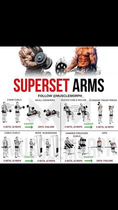 Arms superset - Fitness/Workouts, Motivation etc. Fitness Workouts, Weight Training Workouts, Lifting Workouts, Big Biceps Workout, Superset Arm Workout, Forearm Workout, Workout Abs, Muscle Building Workouts, Chest Workouts