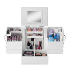 Makeup Storage Cosmetic Organizer Lipstick Organizer Cosmetic - Cosmetic makeup organizer wood countertop organizer by lessandmore