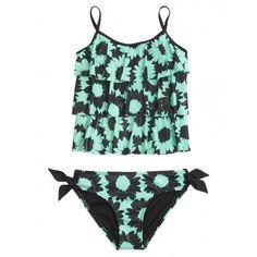 Daisy Tankini Swimsuit ($6.99) ❤ liked on Polyvore featuring swimwear
