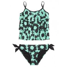 Daisy Tankini Swimsuit ($6.99) ❤ liked on Polyvore featuring swimwear