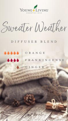Cozy on up with this Sweater Weather diffuser blend using only Orange, Frankincense, and Ginger essential oils. #fall #mood #dfiffuserblends #essentialoils #yleo