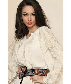 """Ie Traditionala Romaneasca Maneca Lunga Motivul Altita Aurie. Traditional Romanian blouse called """"ie"""", hand sewn and embroidered Folk Fashion, Fashion Art, Fashion Outfits, Womens Fashion, Fashion Design, Romanian Girls, Gorgeous Fabrics, Hippie Outfits, Folk Costume"""