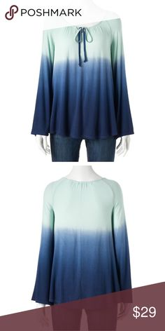 Dip dyed tunic green/blue NWT!  Green/blue with bell sleeves PRODUCT FEATURES Dip-dyed design Splitneck with tie detail Long sleeves Soft jersey construction FABRIC & CARE Rayon, spandex Machine wash Imported Sonoma Tops Tunics