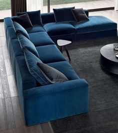 We are kind of obsessed with L-Shaped Sofas as they are aesthetically pleasing and can fit all your family members ☺️☺️ . Need a home transformation? We are only a DM or Call away from you 🤗🤗 Have a wonderful week ahead 😊 Sofa Bed Design, Living Room Sofa Design, Living Room Designs, Blue Living Room Decor, Home Living Room, Modern Sofa Designs, Sofa Colors, Sofa Styling, Luxury Sofa