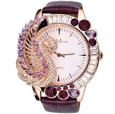 $100 Melissa Fashion Women's Watch Luxury Big Dial Leather Band Purple Crystal Swan #Melissa #Dress