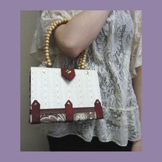 Book Purse Hand Made with Wooden Bead Handles by FiberFancies