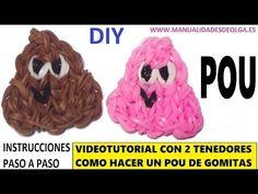 COMO HACER UN POU DE GOMITAS (LIGAS) CHARMS CON DOS TENEDORES - YouTube