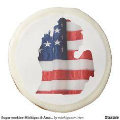 Sugar cookies-Michigan & American Flag