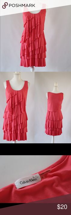 Calvin Klein Flirty Pink Dress A perfect little dress for spring and summer, just add some fun jewelry and the right sandals! Stretchy, comfy material, lined with built-in slip. In excellent condition. Size 4. Calvin Klein Dresses Mini