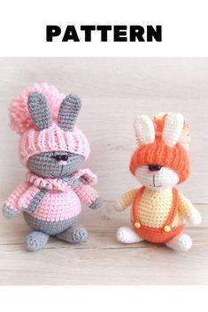 Amigurumi pattern, Crochet pattern toys by ToysmelenaPatterns Crochet Toys Patterns, Amigurumi Patterns, Stuffed Toys Patterns, Knitting Patterns, Amigurumi Toys, Crochet Bunny, Crochet For Kids, Crocheted Animals, Crochet Teddy