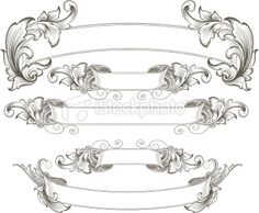 Scroll Banner | Intricate Engraved Banners Royalty Free Stock Vector Art Illustration