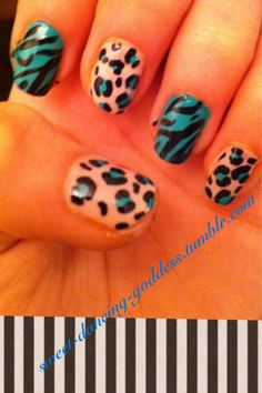 leopard and zebra nails
