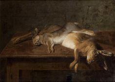 Pierre VINCENT (Ecole FRANCAISE du XVIIIème siècle) Nature morte aux lièvres Huile sur toile signée et datée en bas à droite Petrus Vincent pinxit 1790. (Restaurations anciennes) 61 x 81,5 cm. Expert : Cabinet TURQUIN, M. Eric TURQUIN
