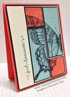 handmade greeting card ... Swallowtail image in off the edges stamping on red and blue rectangles  ... luv the graphic look of the split panel block ... sketch design: Connie and Mary 263 ... great card from Brian King ... Stampin' Up!