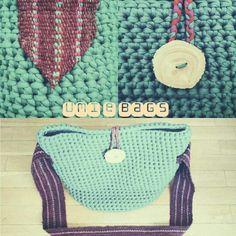 Bolso trapillo. Hecho a mano. Crochet XL. Fajín hecho a mano en Peru. Por Umi e.
