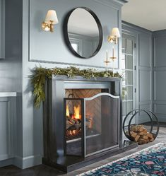 Black Fireplace, Fireplace Mirror, Fireplace Tools, Fireplace Design, Painted Fireplace Mantels, Wood Fireplace, Fireplace Remodel, Fireplace Ideas, Outdoor Dining Furniture