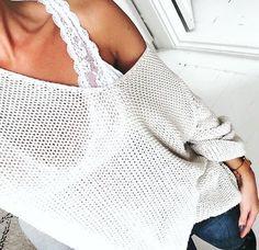 // Pinterest @esib123 //  #style #inspo sweater + lace brs