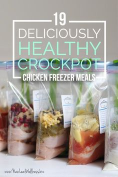 19 Deliciously Healthy Chicken Crockpot Freezer Meals -- with FREE printable recipes and shopping lists!