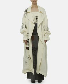 Printed Belted Linen Coat by Claire Barrow SS16.